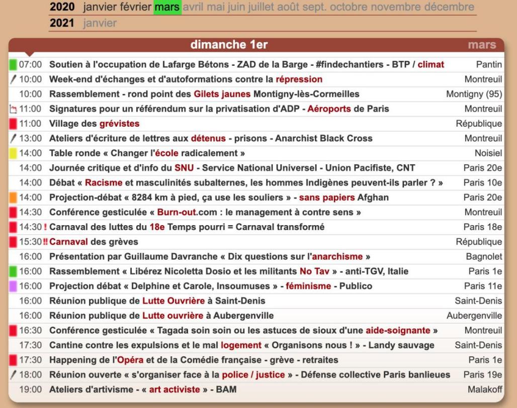 2020年3月1日在巴黎的游行日历。截图自paris.demosphere.net网站