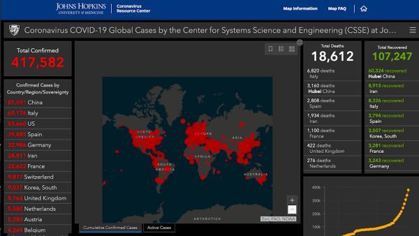 (改)约翰·霍普金斯大学疫情地图数据来源
