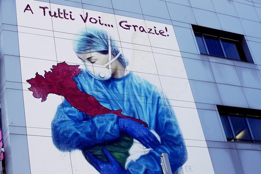 贝加莫教皇若望23世医院墙壁上的壁画。