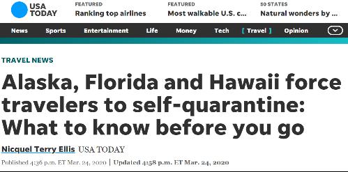 阿拉斯加,佛罗里达,夏威夷请求来访旅客进走自吾阻隔;原料来源:USA TODAY