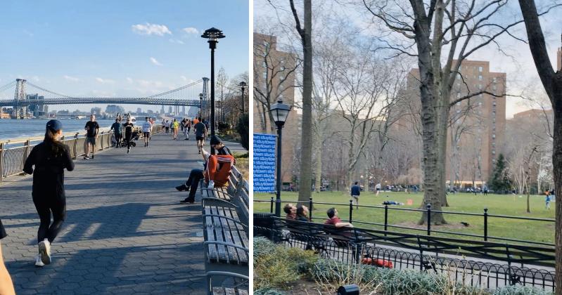 左图:东河沿岸公园锻炼者多多;右图:作者幼区居民们在幼区主草坪;原料来源:作者自立拍摄