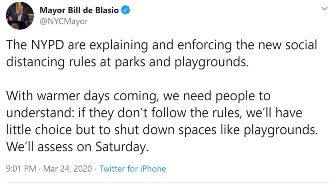 纽约市市长告知行家按照保持外交距离的请求;原料来源:推特@NYCMayor