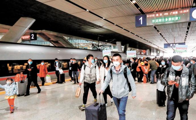 武漢重啟|武漢鐵路客運恢復到站業務首日,6萬多人到達
