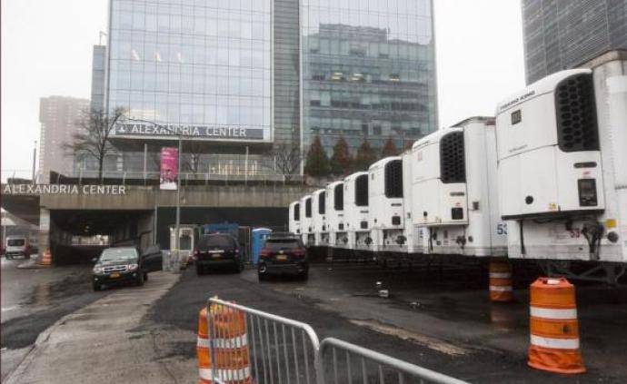 紐約病亡數增加,聯邦應急管理局派85輛冷藏車作臨時停尸房