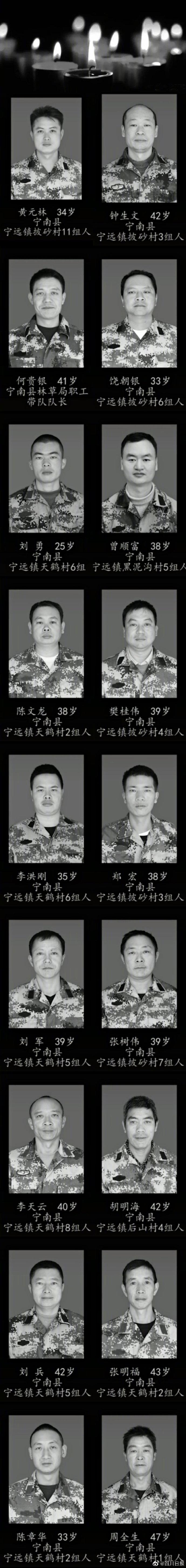 西昌森林火灾18名扑火队员照片公布。 四川日报 图