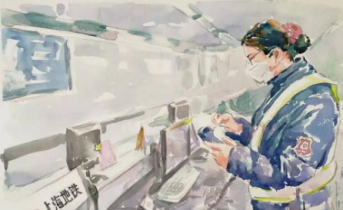 画下两万张上海地铁众生相后,他又用画笔记录地铁防疫工作者