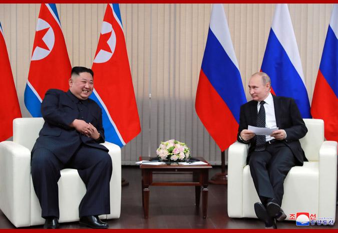 2019年4月25日,金正恩訪問俄羅斯期間與普京會晤。