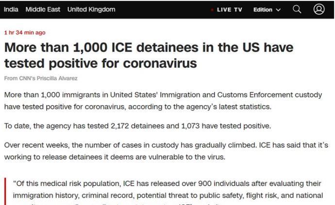 美移民海關執法局最新數據:超千名被拘移民新冠檢測呈陽性