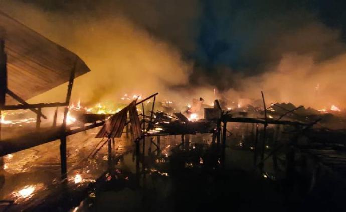 馬來西亞仙本那30間水上木屋燒毀,近200人失去家園