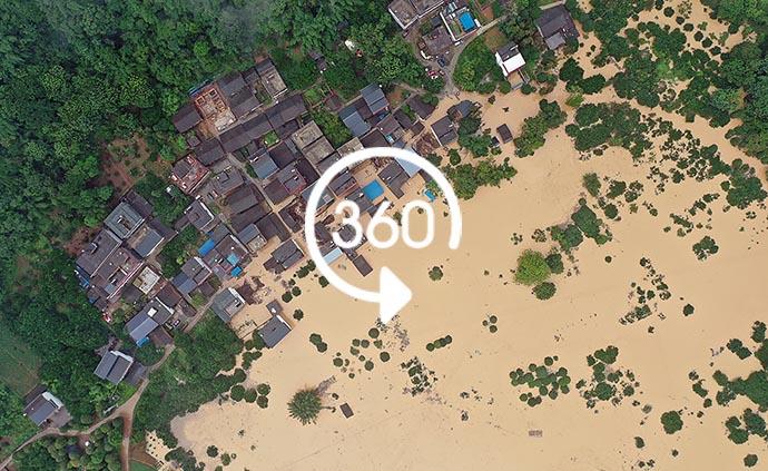 360°全景|洪涝严重!航拍广西阳朔高田镇受灾现场