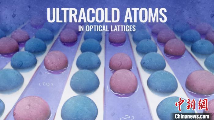 光晶格中原子冷却的示意图。将处在绝缘态的样品原子(蓝绿色球)交错浸泡到处在超流态的环境原子(红色球)中,这两种状态之间高效率的原子和熵的交换,导致有能隙的绝缘态不易被激发,系统中的热量主要以超流态低能激发的形式存储。 中国科大团队 供图