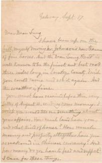 1907年9月,美国H.W.C.写给Dean Lung的信。