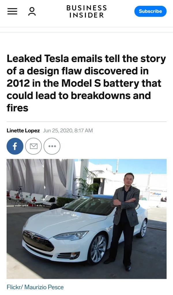"""娱乐游戏:特斯拉""""自燃""""原因找到了?外媒披露其隐瞒电池隐患已达8年"""