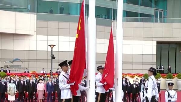香港回归23周年,举行升旗仪式