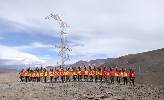 中国安能完成世界最高220kV铁塔组立,攻坚阿里联网工程