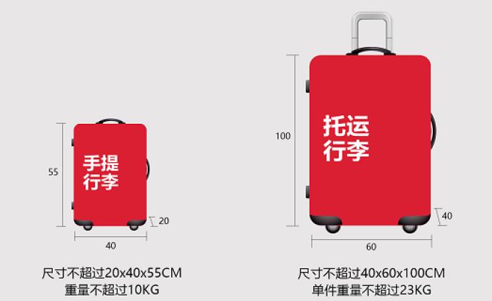 """中联航首推国内托运行李""""计件制"""",每件不超23千克"""