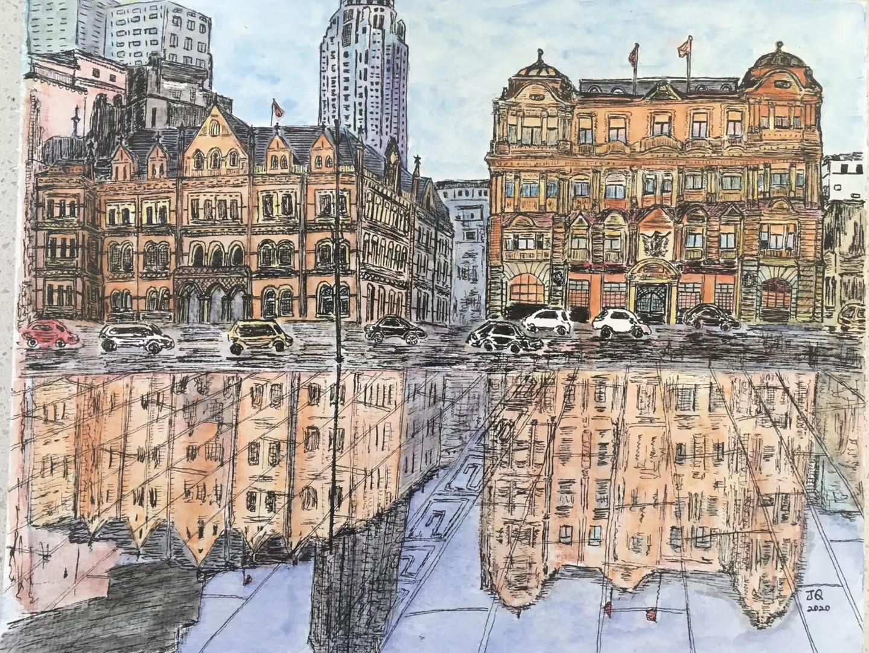 钱佳楠的手绘作品:《盘古银行》。