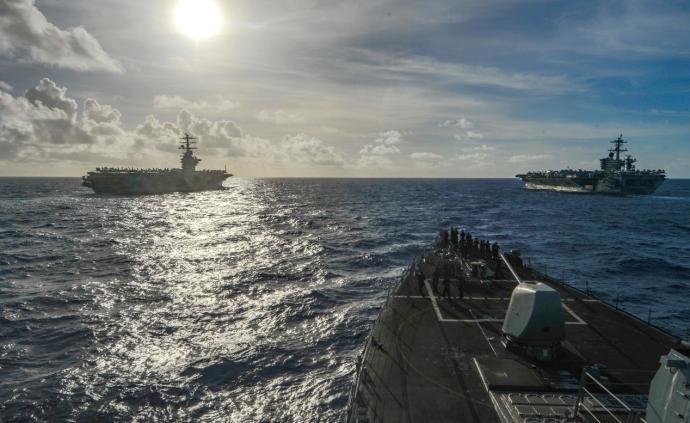 美在南海海域雙航母演習,專家:制造緊張局勢,圖謀不會得逞