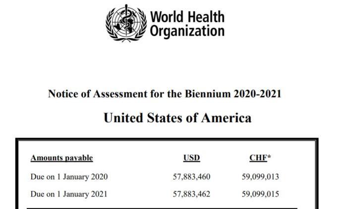 世卫组织:已收到美国退出报告,美国仍拖欠约两亿美元会费