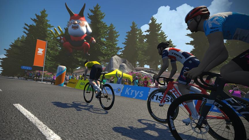"""首届""""虚拟环法自走车赛""""于7月4日举办,不息三周周末进走线上直播。 Zwift官网图"""