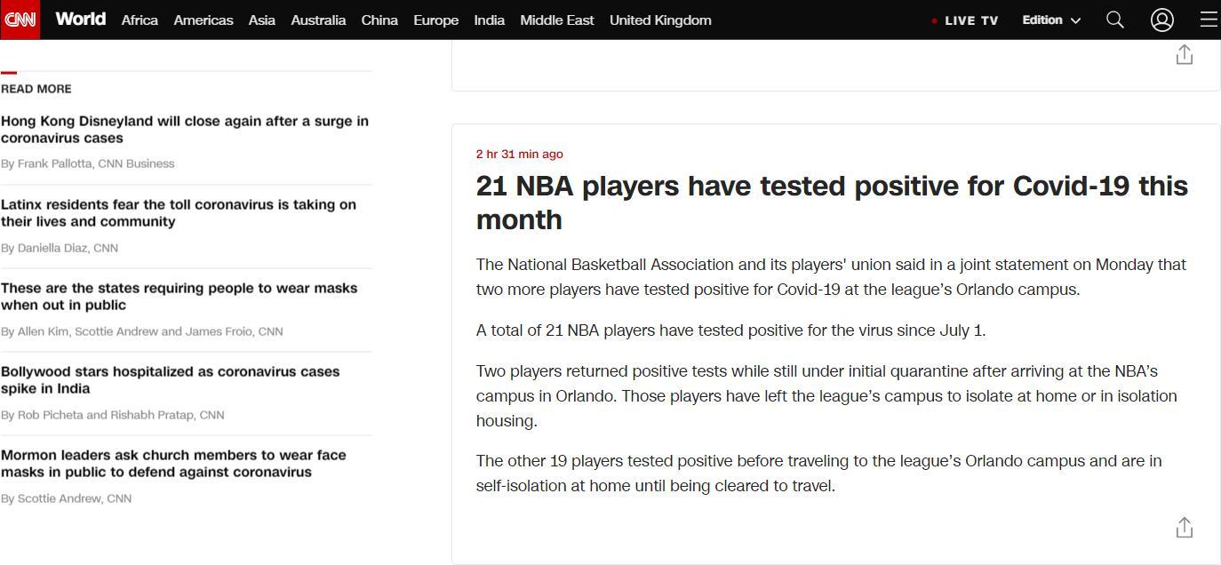 CNN:本月已有21名NBA球员新冠病毒检测呈阳性
