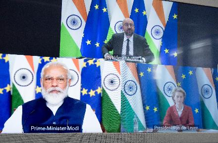 欧盟-印度峰会举走。 欧盟委员会官网 图