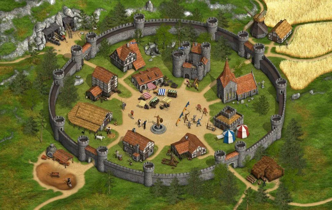 《Tribal Wars》的经典村庄界面,最初的版本更简陋一些。