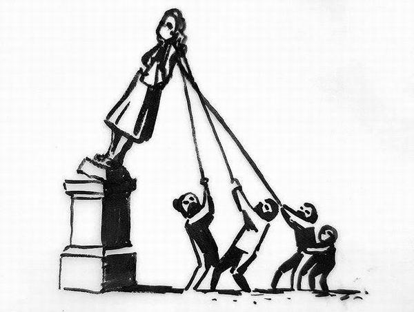 """班克斯的家乡布里斯托尔的科尔斯顿雕像被推倒成为""""黑命运动""""在英国的重要标志之一,2020年6月9日班克斯在社交网络上分享了一件草图,标题为""""我们该如何处理布里斯托尔市中心的空基座?"""""""