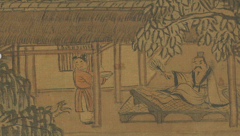 元 王蒙 《夏山高隐图》轴(局部) 故宫博物院藏