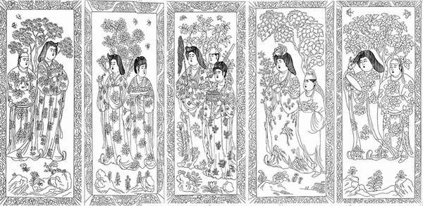 石椁内壁宫廷女性石刻线描图