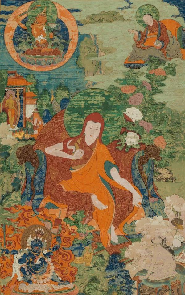 班禅喇嘛源流——萨迦班智达,清代,布面设色,清华大学艺术博物馆藏