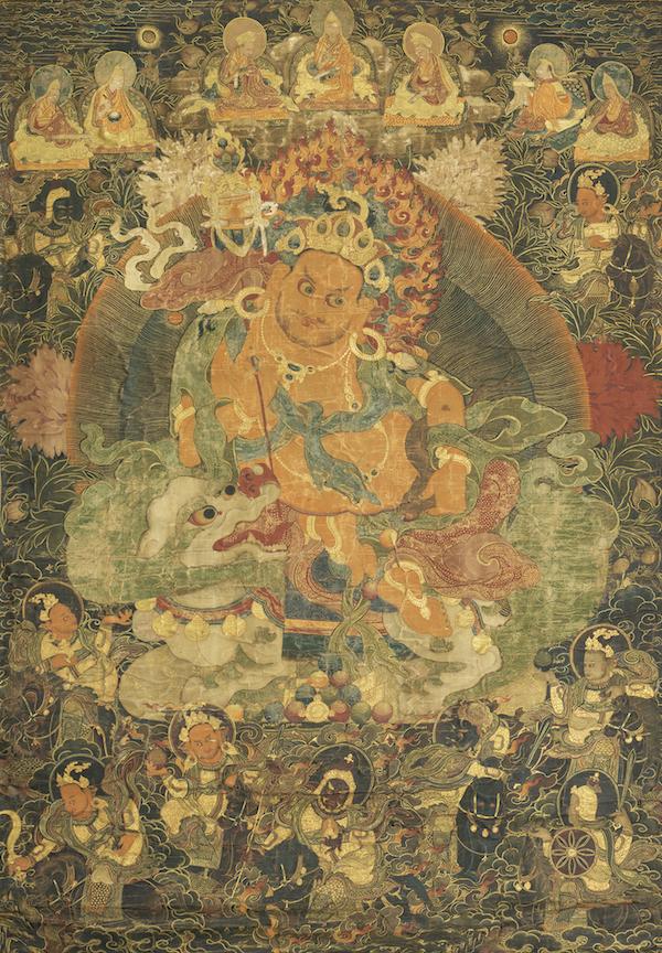 财宝天王,清代,布面设色,清华大学艺术博物馆藏