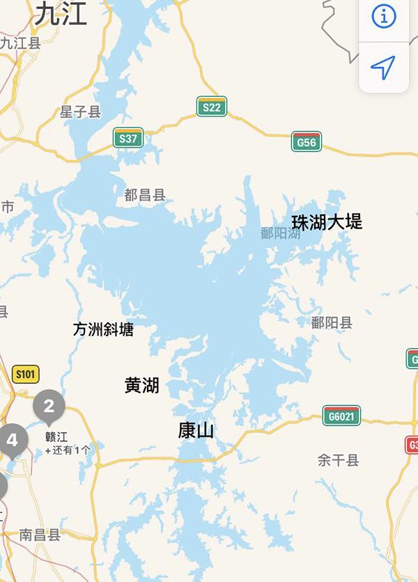 康山蓄滞洪区位于鄱阳湖东岸,上饶市余干县城西北部 高德地图