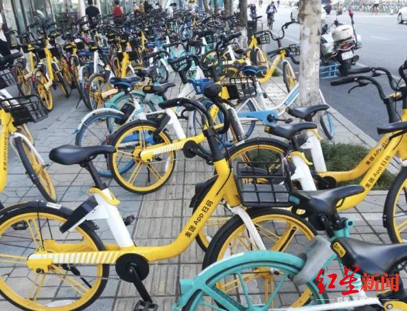 金牛区花照壁东街,盲道被无序停放的共享单车占用
