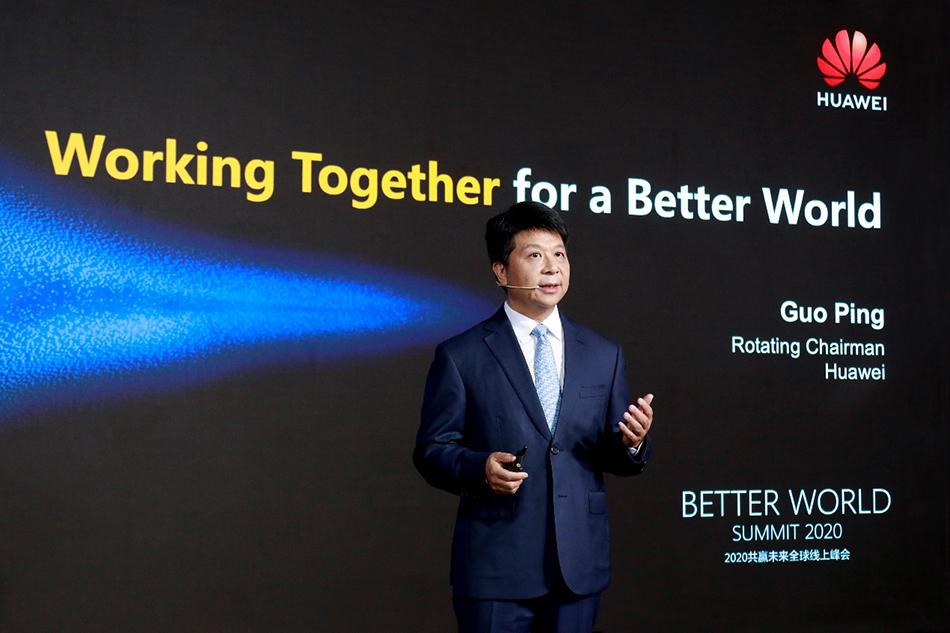 华为轮值董事长郭平在2020共赢异日全球线上峰会上做开幕致辞