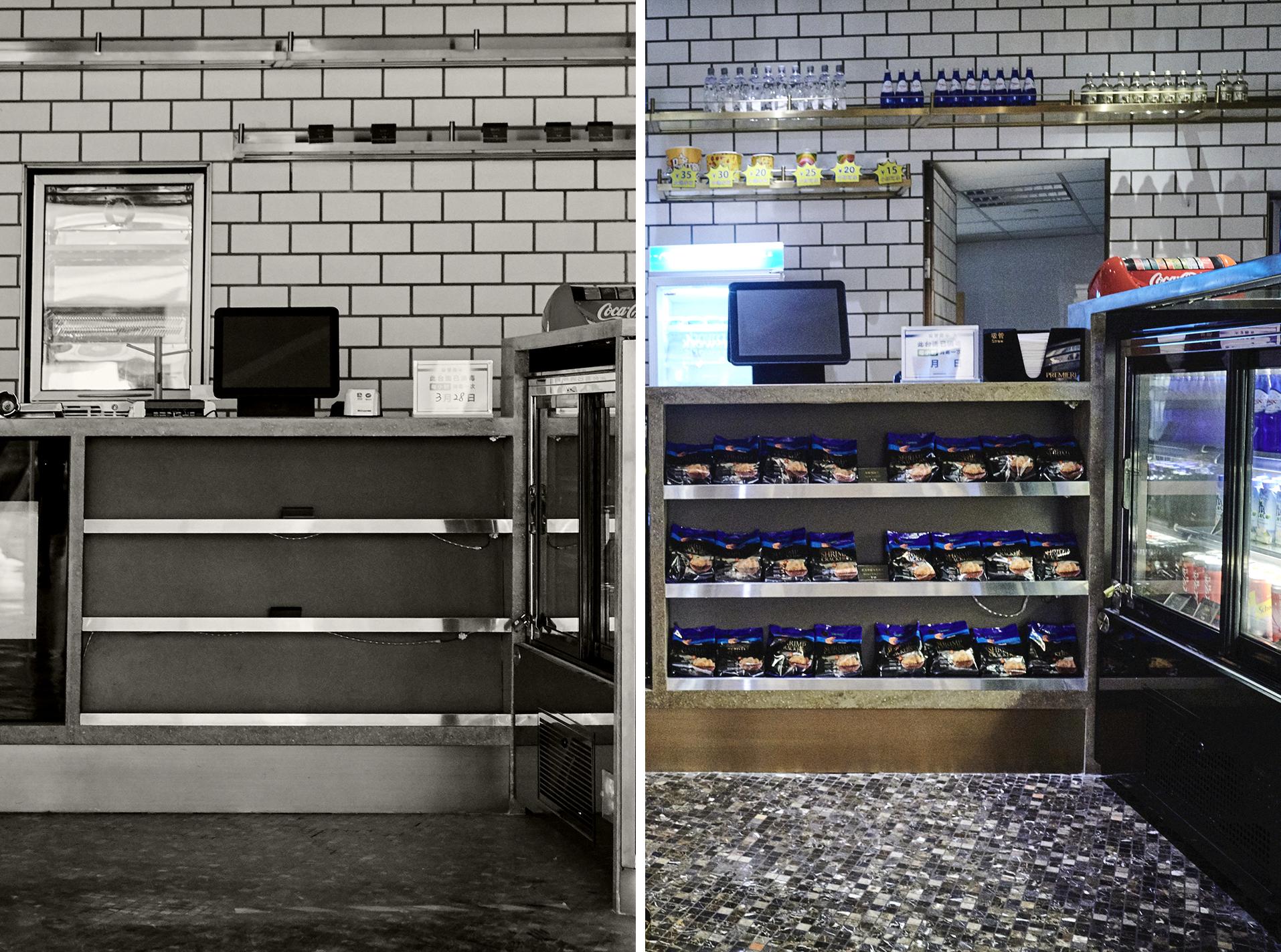 左:7月16日,上海静安嘉里中心,百美汇影城的小食柜台空空如也。 右:7月19日,为第二天影院重开做准备,百美汇影城的小食柜台已摆放地满满当当。因防疫需要,目前,影院内需全程佩戴口罩,暂时不能进食。