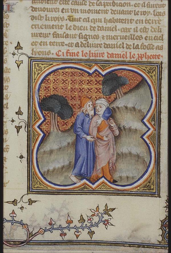 何西阿与妻子(中世纪法语《圣经》插图)