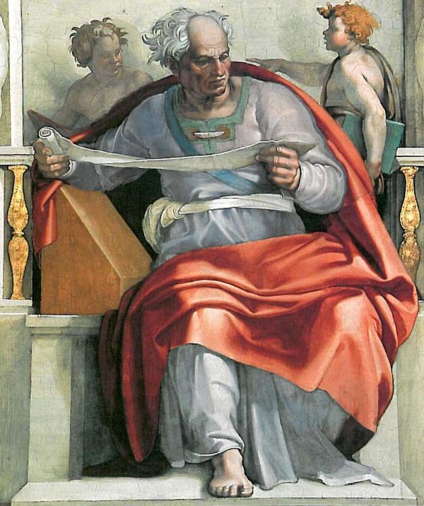 米开朗基罗于西斯廷教堂天顶所绘约珥