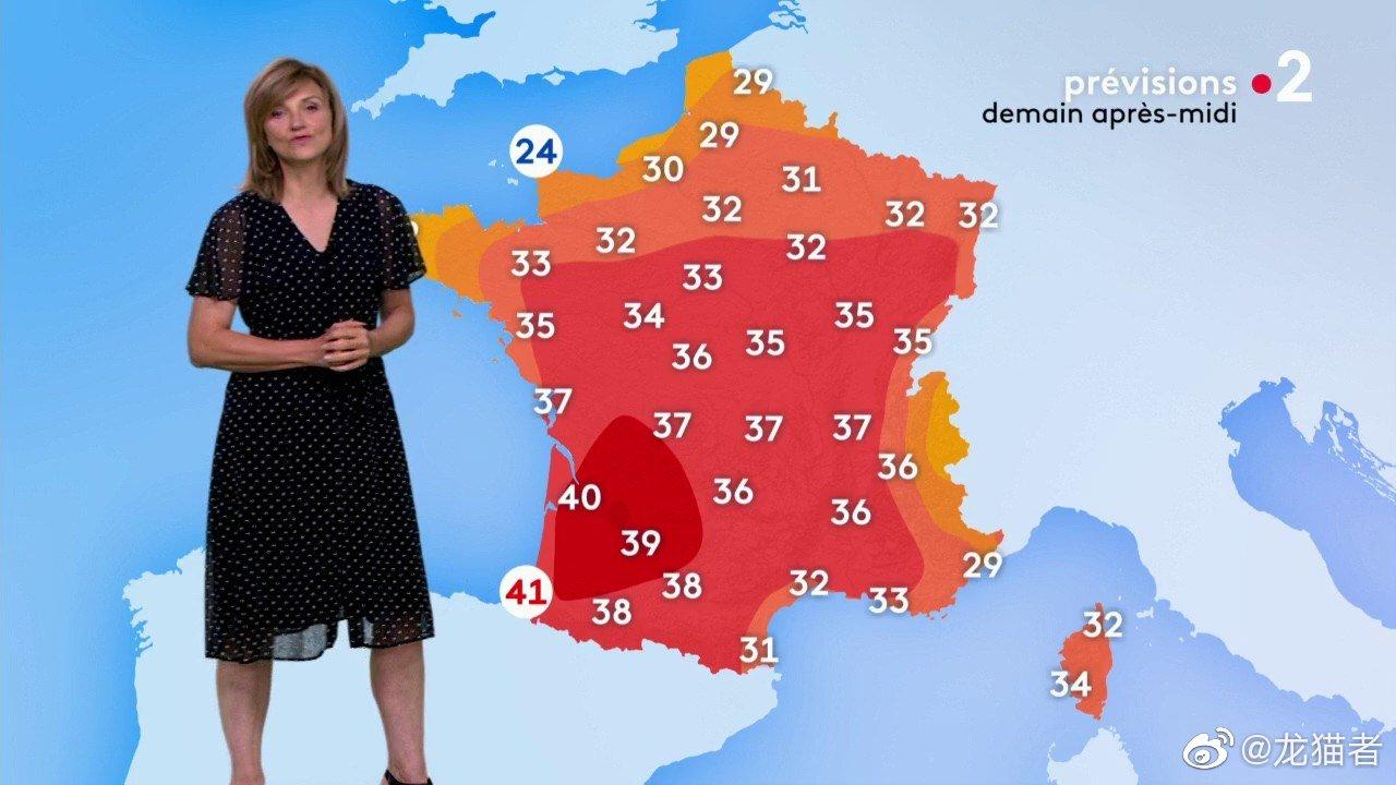 法国气象部门对全法多达32个省份发布橙色警报。 @龙猫者 图