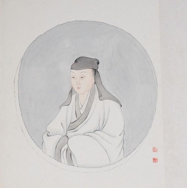 清 毕琛绘柳如是儒服小像册页纸本 设色 纵36厘米 横50.2厘米