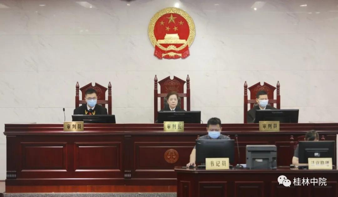 桂林中院院长陈敏(中)对案件进行公开审理 本文图片均来自微信公众号@桂林中院