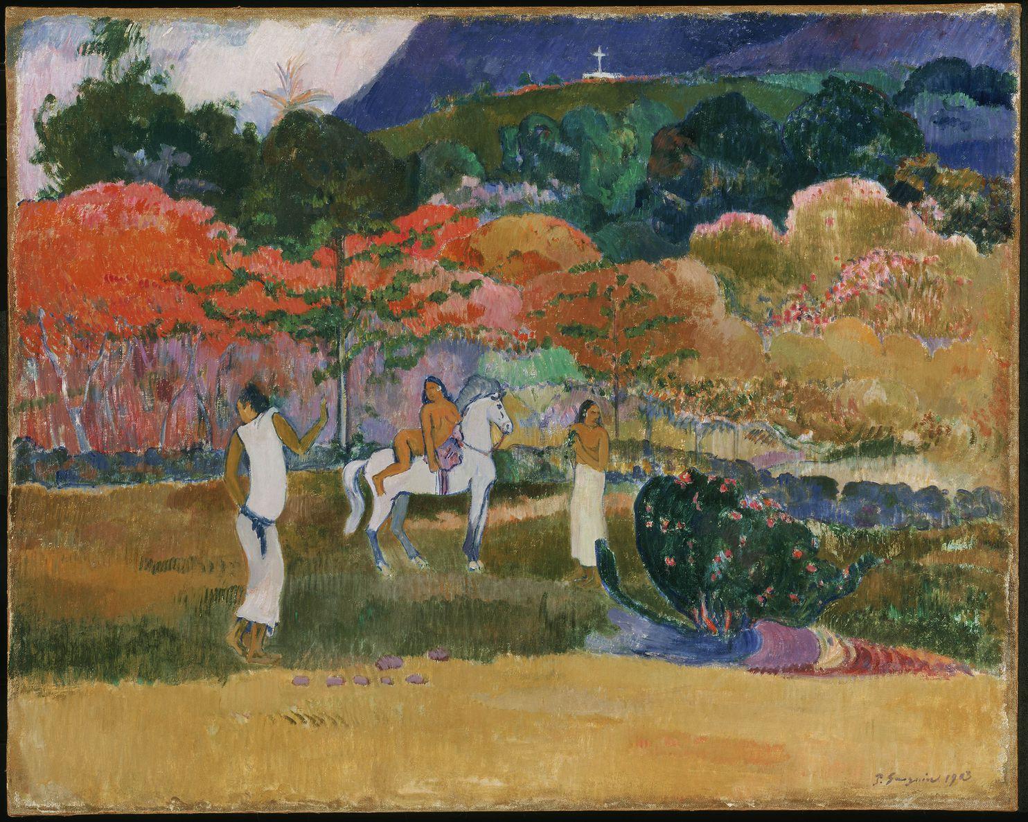 保罗·高更《女人和白马》(Women and a White Horse,1903),波士顿美术博物馆收藏