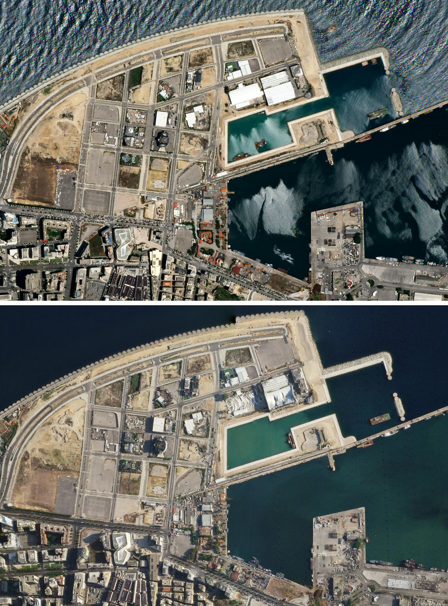 上图:爆炸前的贝鲁特港口(局部)。 下图:爆炸后的贝鲁特港口(局部)。爆炸中心东面,部分建筑物被夷为平地或房顶严重变形。