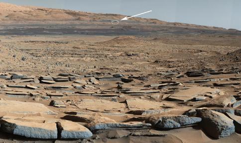 """这张照片标出了""""好奇""""号大概位置。图片来源:美国宇航局官网"""