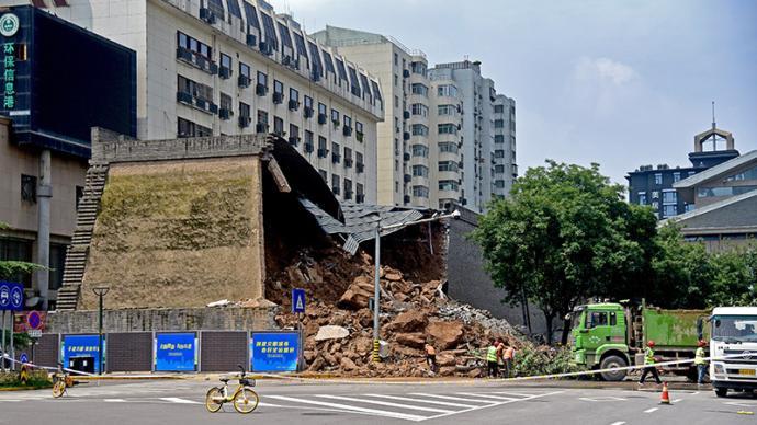 西安城墻坍塌部分為修復保護砌體,將按專家意見加緊修復