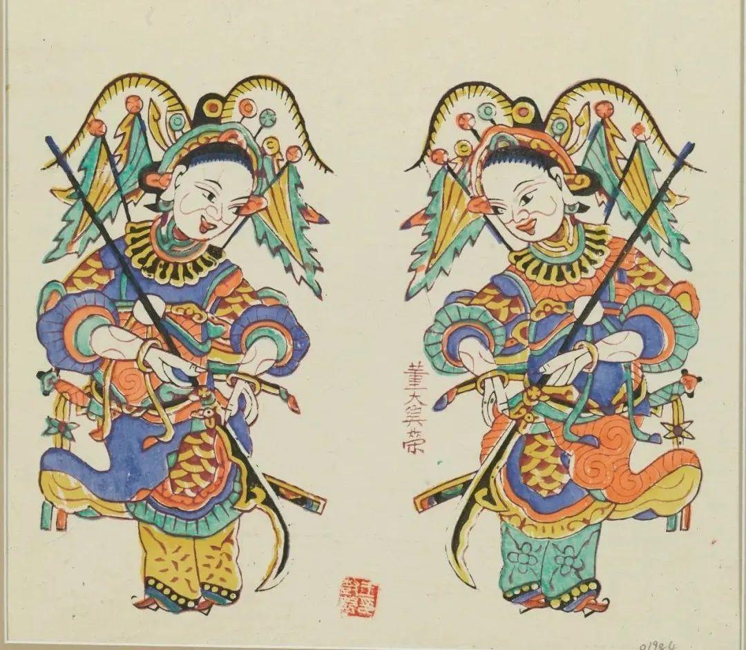 四川夹江《女将门神》纸本 35×35cm清代中国美术馆藏