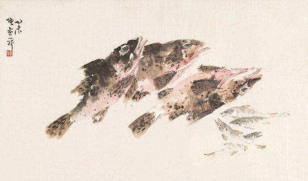 张书旂《鱼趣图》1955年