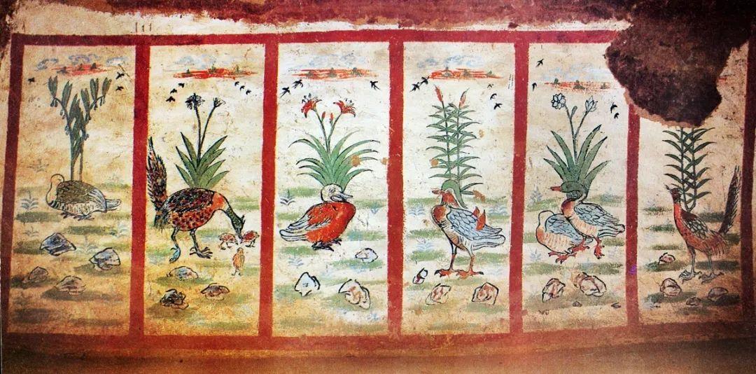图13 新疆吐鲁番阿纳斯塔那唐墓花鸟屏风壁画