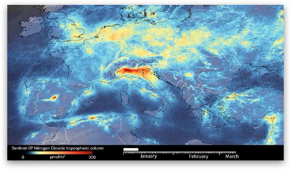 欧洲等地大气清洁度变化