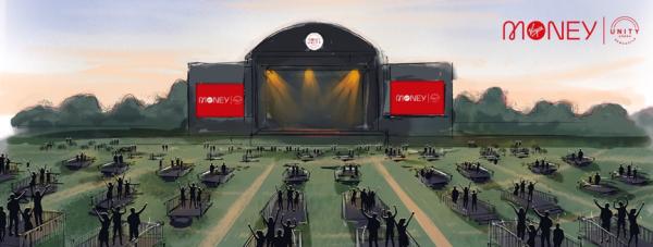一场保持社交距离的户外演唱会是什么样?英国纽卡斯尔的一场音乐会给出了示意图 本文图片来自Virgin Money Unity Arena的Facebook
